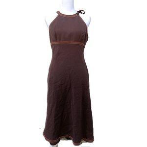 Vintage 90s Liz Claiborne Brown Linen Halter Dress